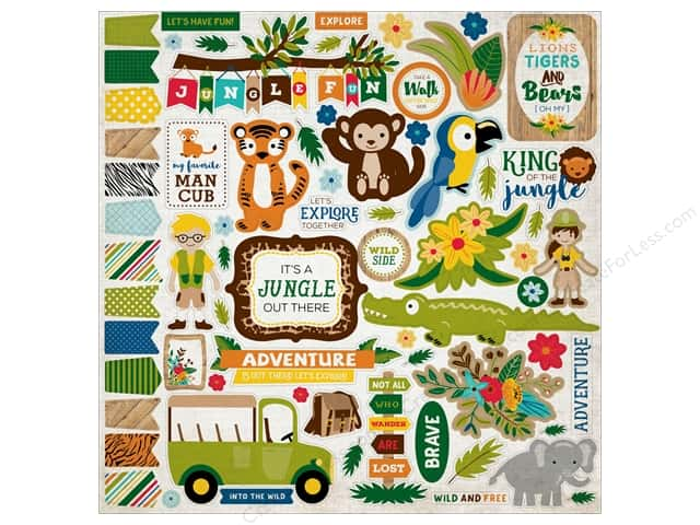 Echo Park Sticker 12 x 12 in. Jungle Safari Elements (15 pieces)