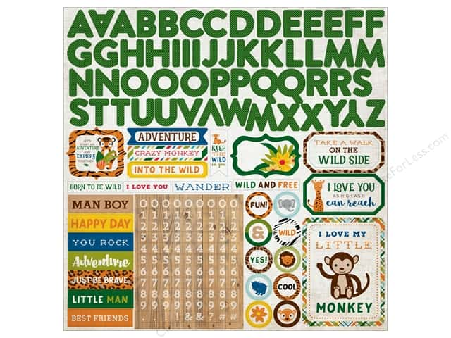 "Echo Park Collection Jungle Safari Sticker 12""x 12"" Alpha (15 pieces)"