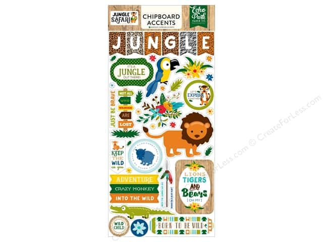 Echo Park Adhesive Chipboard 6 x 12 in. Jungle Safari