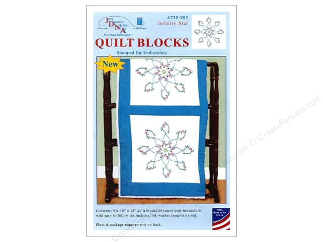 "Jack Dempsey Quilt Block 18"" 6pc White Infinity Star"