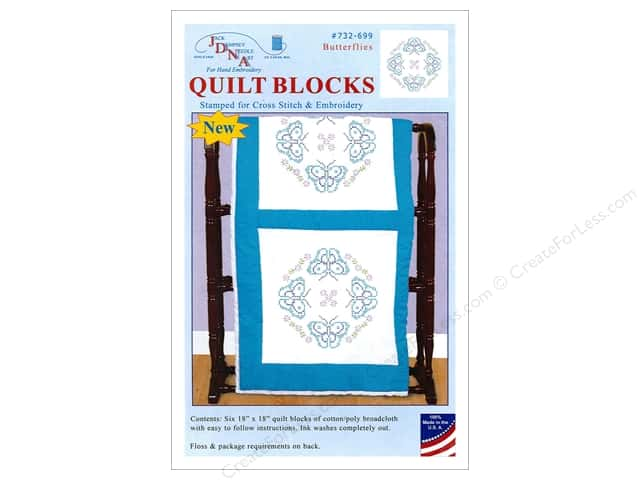 Jack Dempsey Quilt Block 18 in. White Butterflies 6 pc