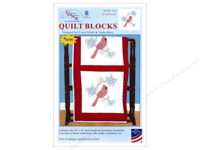 Jack Dempsey Quilt Block 18 in. White Cardinal 6 pc