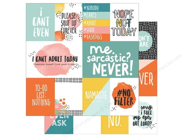 "Simple Stories Collection #Whatever Paper 12""x 12"" Elements (25 pieces)"