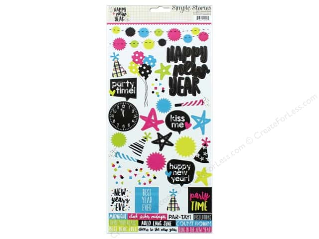 "Simple Stories Collection Happy New Year Sticker 6""x 12"" (12 sets)"