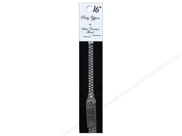 "Sisters Common Thread Hardware Zipper 16"" Black Tape Nickel"