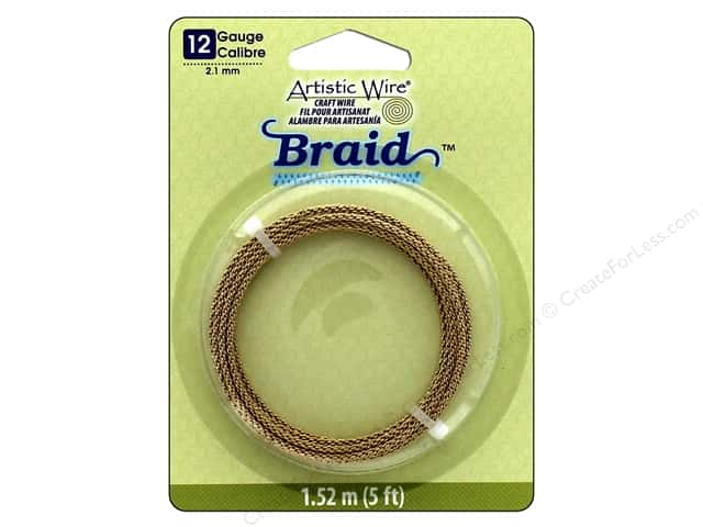 Artistic Wire 12 ga. Round Braided Wire 5 ft. Tarnish Resistant Brass