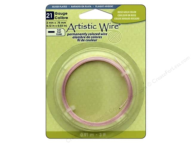 Artistic Wire 21 ga. Flat Wire 3 ft. Rose Gold Color