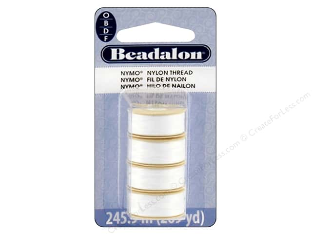 Beadalon Nymo Thread Assorted Sizes 4 pc. White