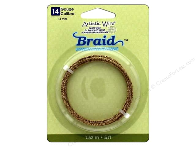 Artistic Wire 14 ga. Round Braided Wire 5 ft. Tarnish Resistant Brass