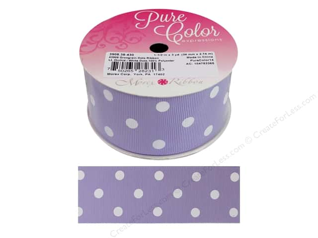 "Morex Ribbon Grosgrain Dot 1.5""x 3yd Light Orchid/White"