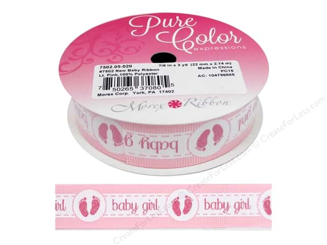 "Morex Ribbon Grosgrain New Baby 7/8""x 3yd Pink"