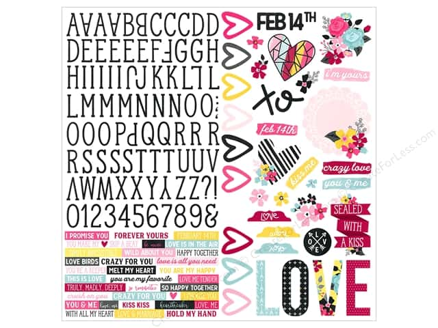 Simple Stories Collection Love & Adore Sticker Combo 12 in. x 12 in. (12 pieces)