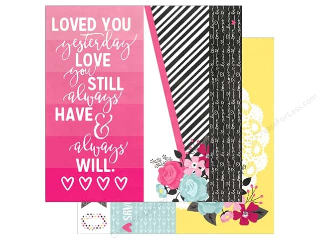"Simple Stories Collection Love & Adore Paper 12""x 12"" Page Elements 2""x 12"", 4""x 12"" & 6""x 12"" (25 pieces)"