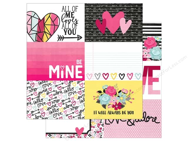"Simple Stories Collection Love & Adore Paper 12""x 12"" Journaling Card Elements Horizontal 4""x 6"" (25 pieces)"