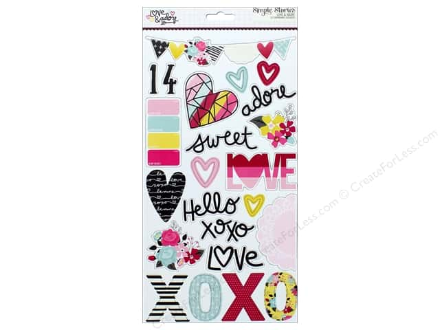 """Simple Stories Collection Love & Adore Chipboard Stickers 6""""x 12"""""""