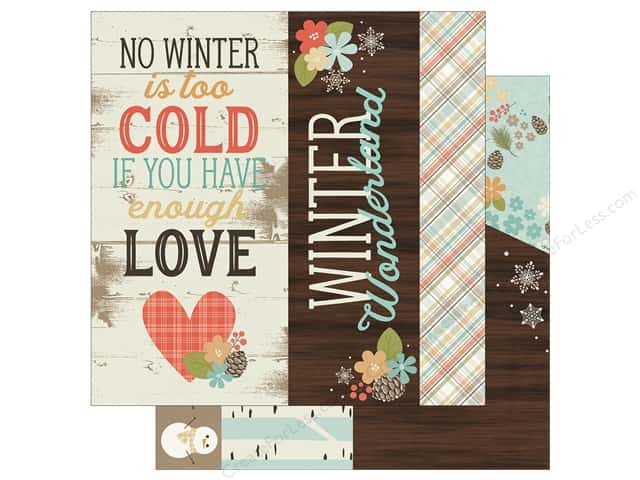 "Simple Stories Collection Winter Wonderland Paper 12""x 12"" Page Elements 2""x 12"", 4""x 12"" & 6""x 12"" (25 pieces)"