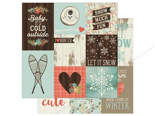 "Simple Stories Collection Winter Wonderland Paper 12""x 12"" Vertical Elements 4""x 4"" & 4""x 6"" (25 pieces)"