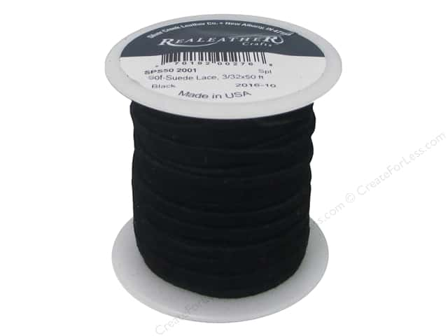Silver Creek Soft Suede Lace 3/32 in. x 50 ft. Black (50 feet)