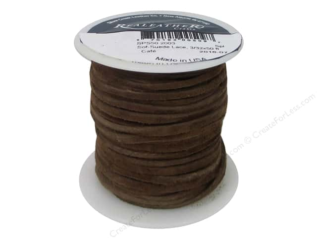 Silver Creek Soft Suede Lace 3/32 in. x 50 ft. Cafe (50 feet)