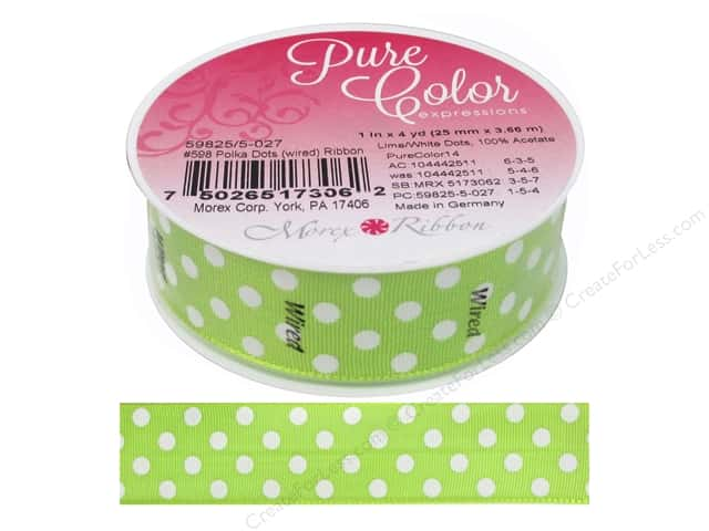 Morex Ribbon Wire Polka Dots 1 in. x 5 yd Lime