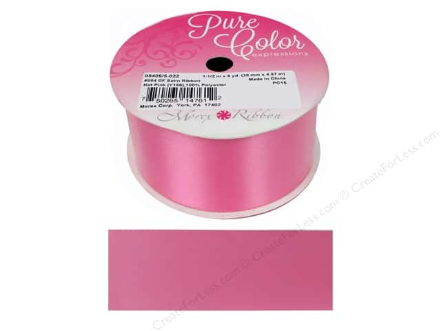 Morex Double Face Satin Ribbon 1 1/2 in. x 5 yd. Hot Pink