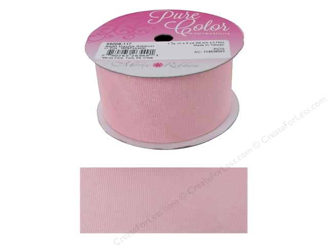 Morex Dazzle Glitter Grosgrain Ribbon 1 1/2 in. x 3 yd. Light Pink