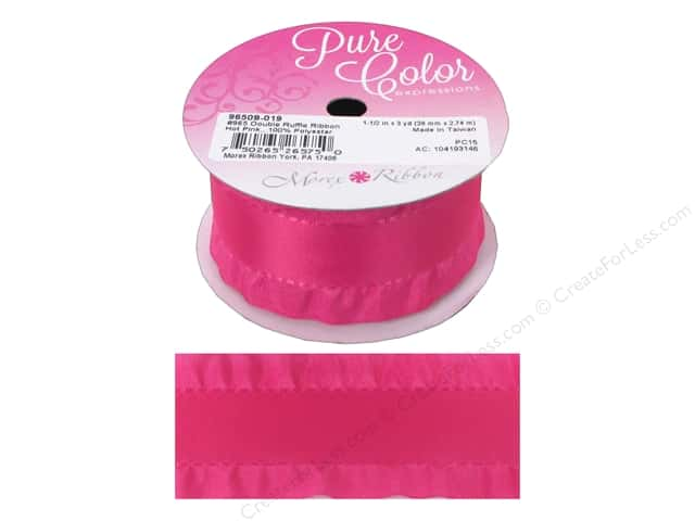 Morex Ribbon Double Ruffle 1.5 in. x 3 yd Hot Pink