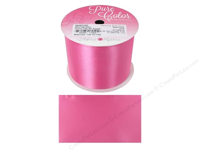 Morex Double Face Satin Ribbon 2 1/4 in. x 3 yd. Hot Pink