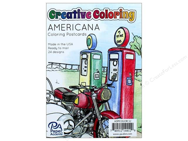 "Paper Accents Creative Coloring Postcards 4.25""x 6"" Americana 24pc"