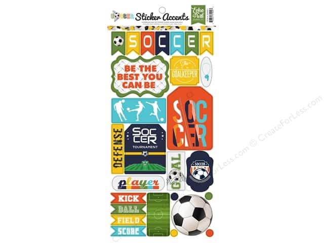 "Echo Park Collection Soccer Sticker 6""x 12"" (15 pieces)"