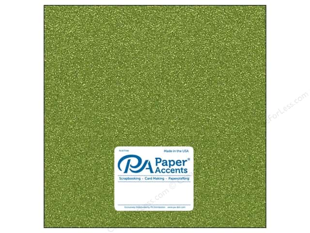 Paper Accents Glitter Cardstock 12 x 12 in. #G25 Olive Green (15 pieces)