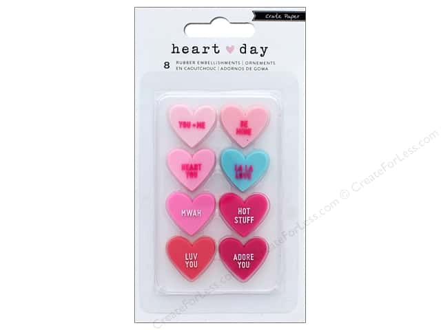 Crate Paper Collection Heart Day Rubber Embellishments