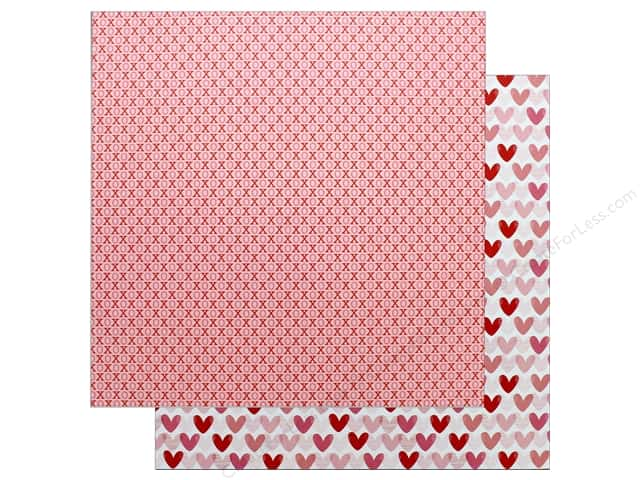 """Pebbles Collection My Funny Valentine Paper 12""""x 12"""" XOXO (25 pieces)"""