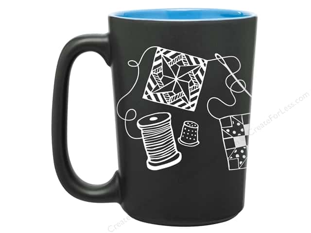 Happy Lines Quilt Mug Scribbles Blue