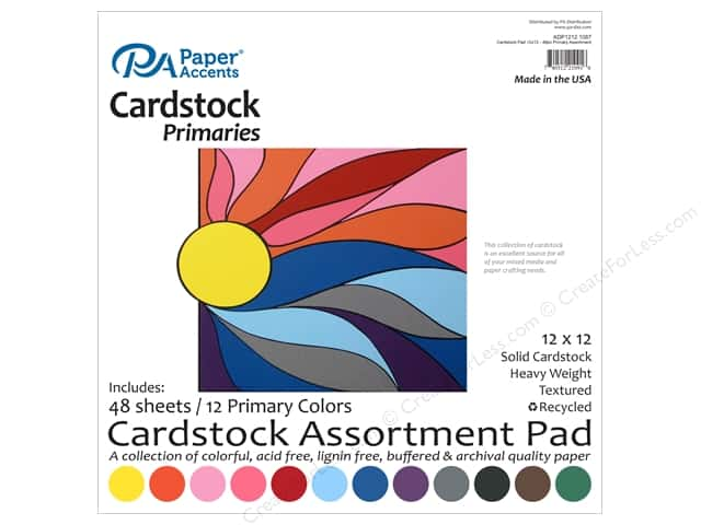 Paper Accents 12 x 12 in. Cardstock Pad 48 pc. Primary