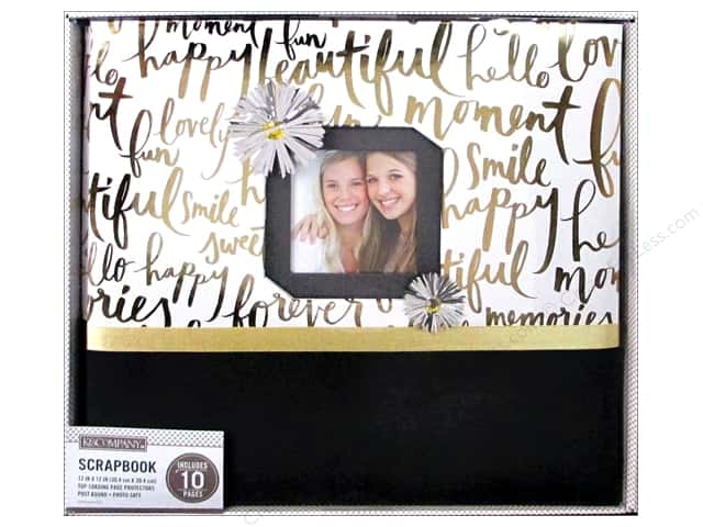 K & Company 12 x 12 in. Scrapbook Window Album Gold Brushed Sentiments