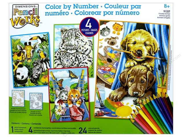 """Dimensions Color By Number 9""""x 12"""" Friendly Animals"""