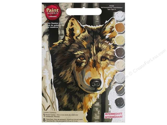 Dimensions PaintWorks Paint By Number 9 in. x 12 in. Wolf
