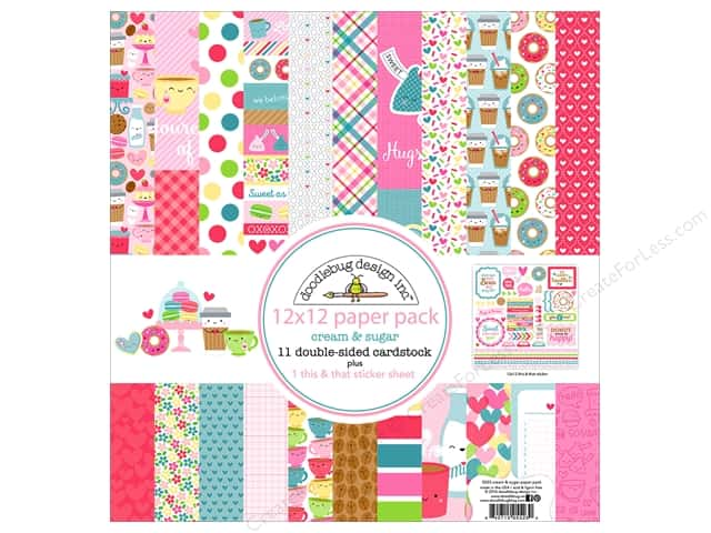 "Doodlebug Collection Cream & Sugar Paper Pack 12""x 12"""