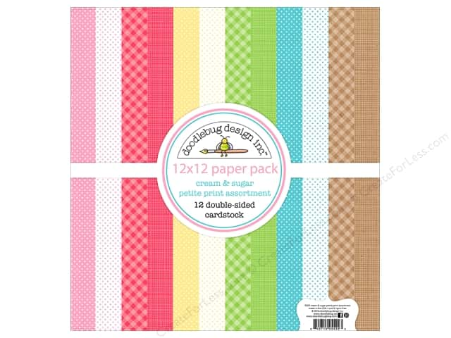 "Doodlebug Collection Cream & Sugar Paper Pack 12""x 12"" Petite"