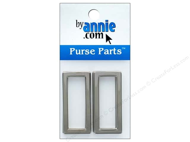 By Annie Purse Parts Rectangle Ring 1 1/2 in. Nickel 4 pc.