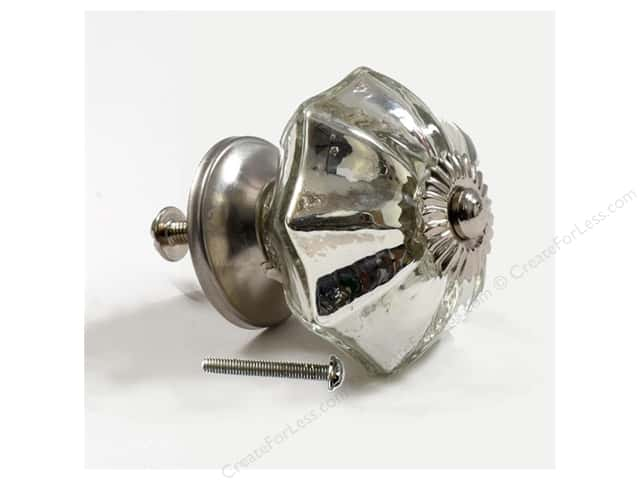 Dritz Home Hardware DIY Glass Knob Scallop Silver