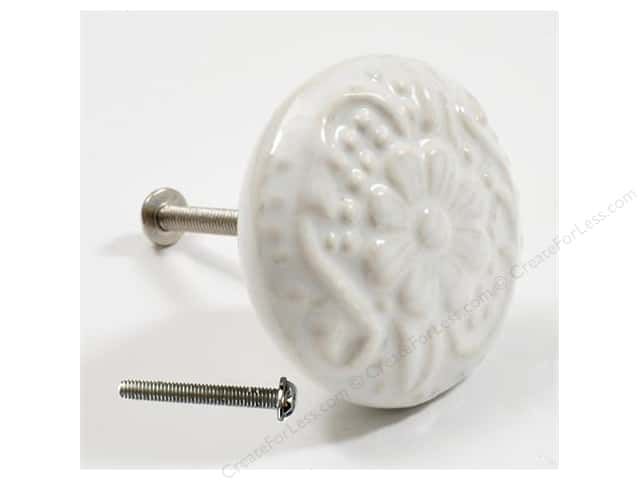 Dritz Home Hardware DIY Ceramic Knob Flower White