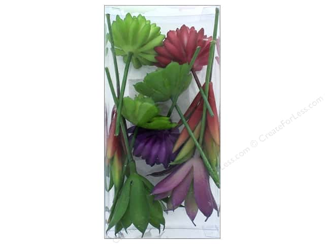 Sierra Pacific Crafts Decor Succulent Pick Set Green/Red/Purple 9 pc