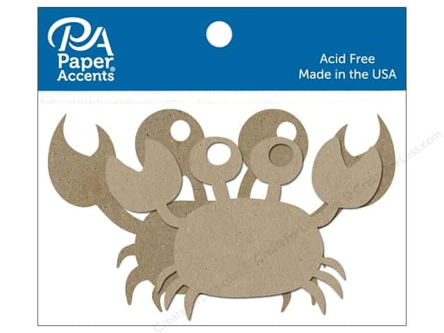 Paper Accents Chipboard Shape Crab 6 pc. Natural