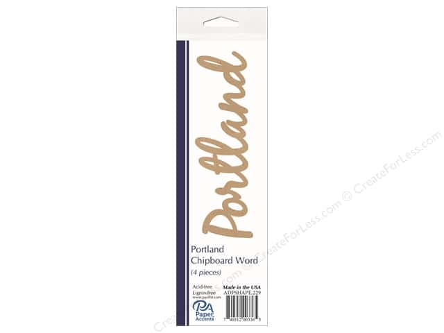 Paper Accents Chipboard Word Portland 4 pc. Natural