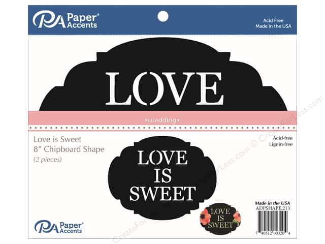 Paper Accents Chipboard Shape 2 pc. Love is Sweet Black
