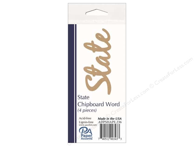 Paper Accents Chipboard Word 4 pc. State Natural