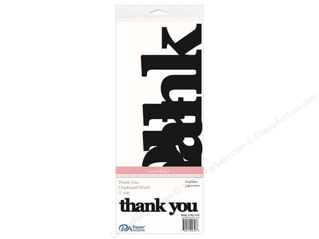 Paper Accents Chipboard Word Thank You 1 Set Black