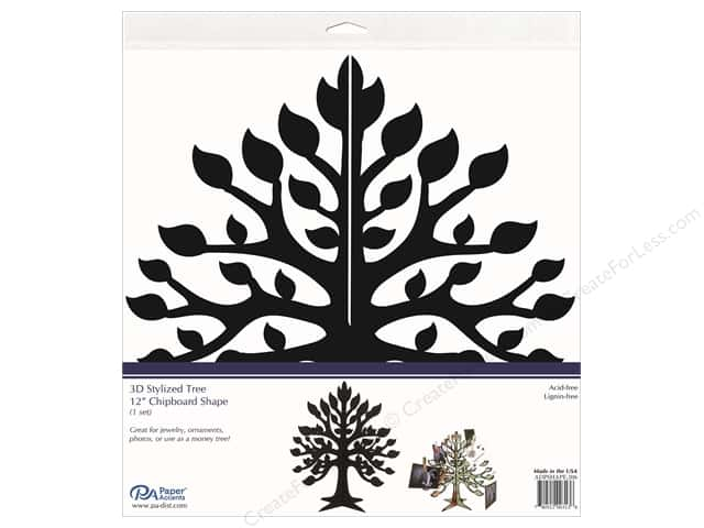 Paper Accents Chipboard Shape 1 pc. 12 in. 3D Stylized Tree Black